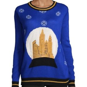 Ugly Faith & Zoe Snow Globe Blue Sweater Size M